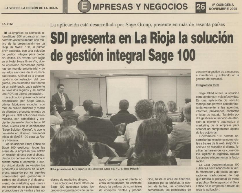 Nov. 2005 -  SDI presenta en La Rioja la solucion de gestion integral Sage 100