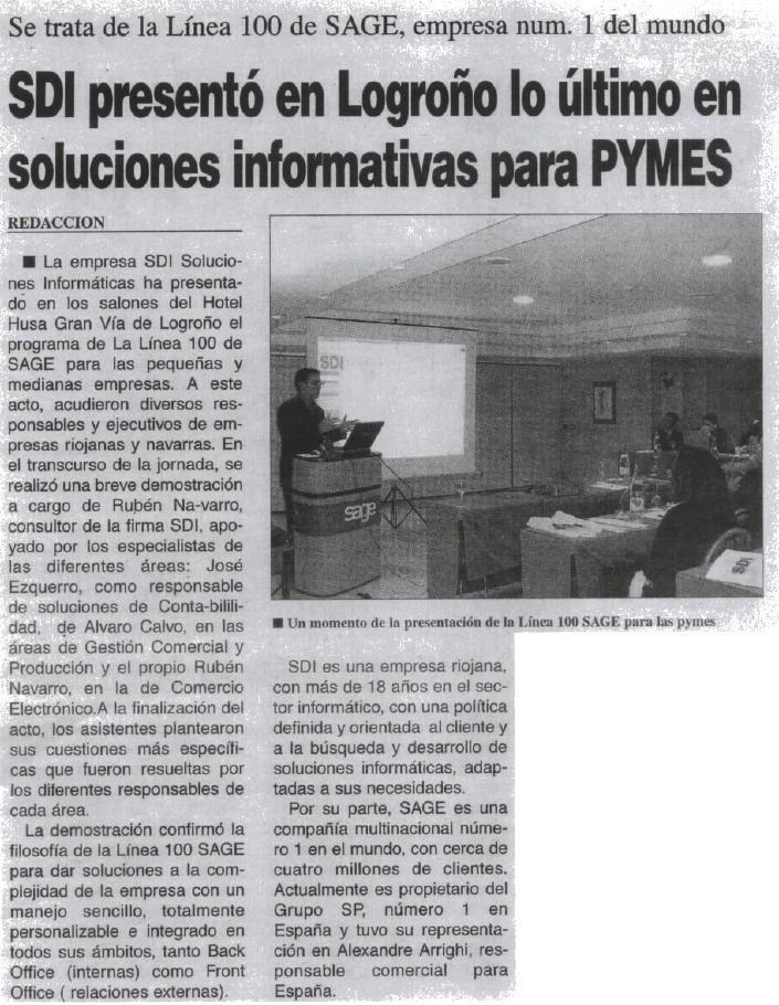 SDI presenta en La Rioja la solución de gestión integral Sage 100 2