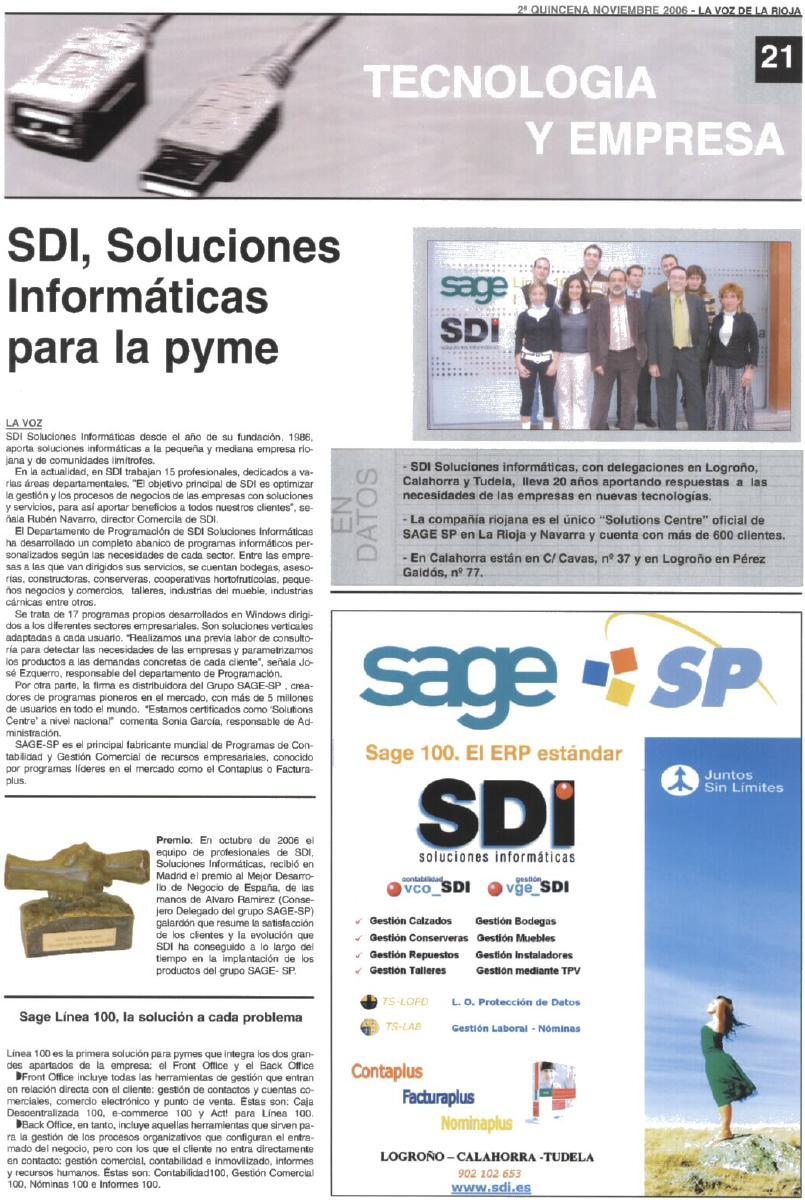 Nov. 2006 - SDI, Soluciones Informaticas para la pyme